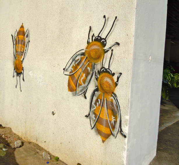 Bees on a wall in Woodstock, Cape Town