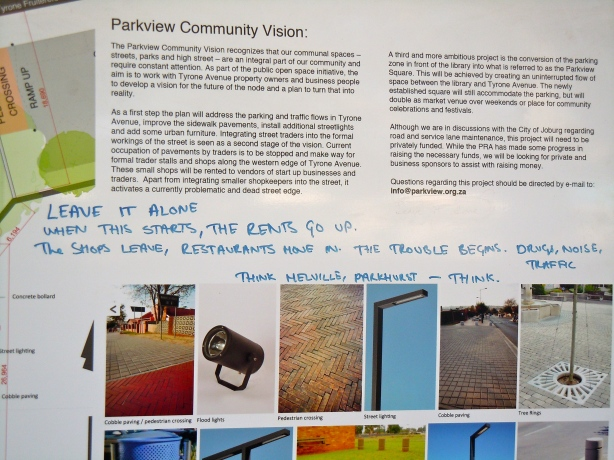 Debating the gentrification of Tyrone Avenue in Parkview, on a public noticeboard.